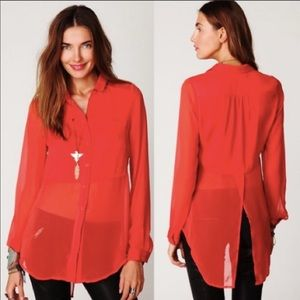 Free People Best of Both Worlds Sheer Blouse S